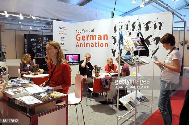 Agents and buyers meet at the German animation Pavilion during the Annecy International film Animation Festival on June 10 2009 2009 marked a record...