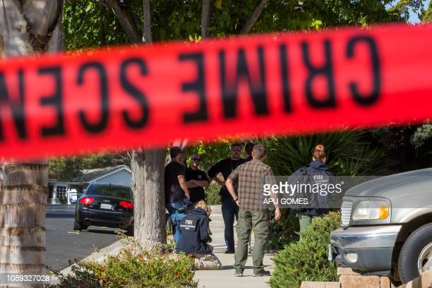 Agents are collecting evidence at the home of suspected nightclub shooter Ian David Long in Thousand Oaks, northwest of Los Angeles, on November 8,...