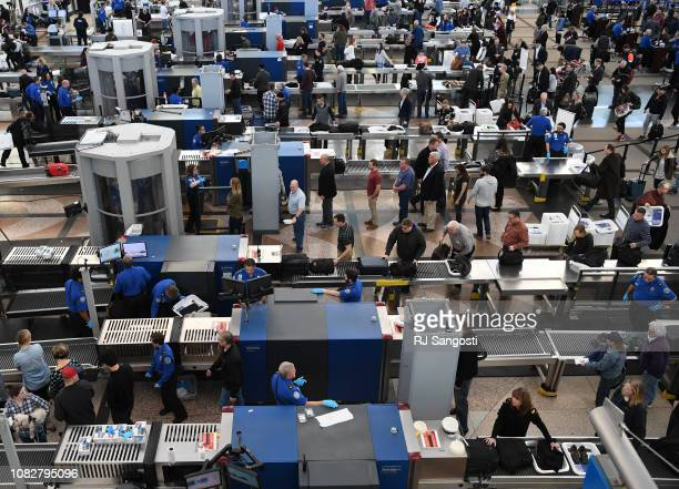 TSA agents at Denver International Airport continue to work without pay after 24 days of the partial government shutdown on January 14 2019 in Denver...