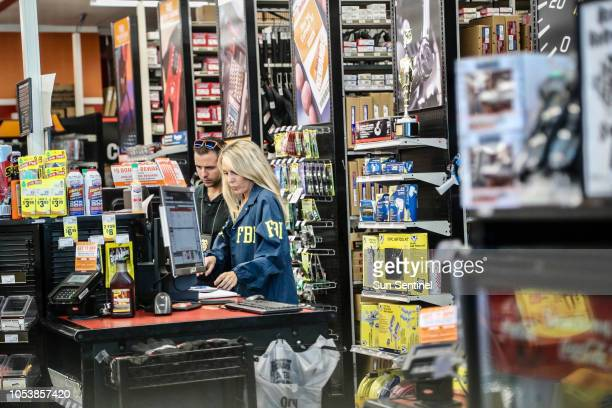 FBI agents at the AutoZone store on State Road 7 in Plantation Fla where Cesar Sayoc Jr of Aventura was arrested Friday morning Oct 26 2018 in...