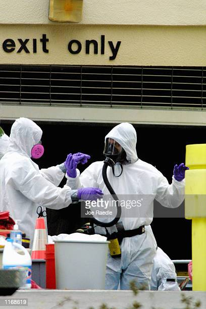 FBI agents in BioHazard suits continue to investigate the American Media Inc building October 17 2001 in Boca Raton FL The FBI is also continuing to...
