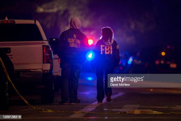 Agents monitor the scene near the Borderline Bar and Grill, where a mass shooting occurred, on November 8, 2018 in Thousand Oaks, California....