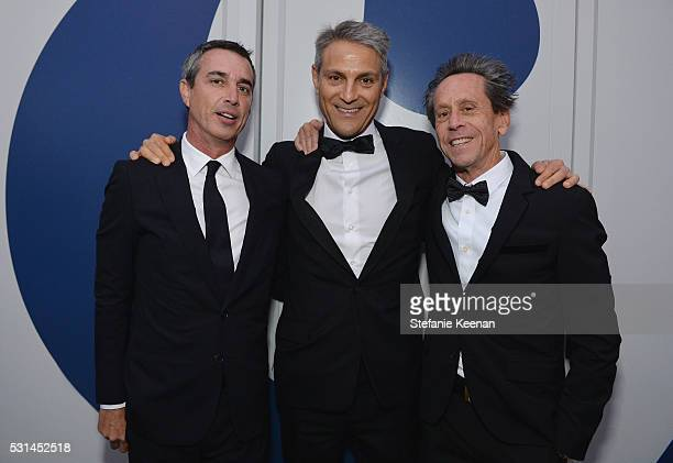 Agents Nick Stevens Ari Emanuel and producer Brian Grazer attend the MOCA Gala 2016 at The Geffen Contemporary at MOCA on May 14 2016 in Los Angeles...