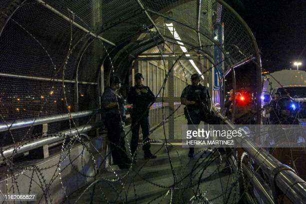 Agents of the Customs and Border Protection Office keep the Paso del Norte International Bridge closed during a surprise operation to prevent users...