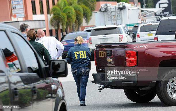 FBI agents seen outside of Pulse nightclub after a fatal shooting and hostage situation where 20 people died on June 12 2016 in Orlando Florida The...