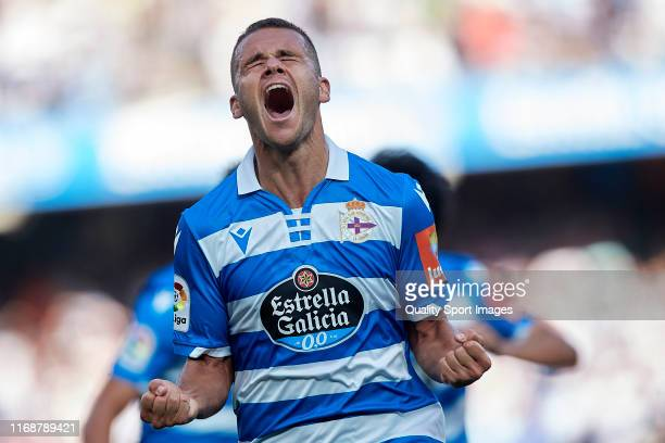 Ager Aketxe of Deportivo de La Coruna celebrates after scoring his team's second goal during the La Liga Smartbank match between Deportivo de La...