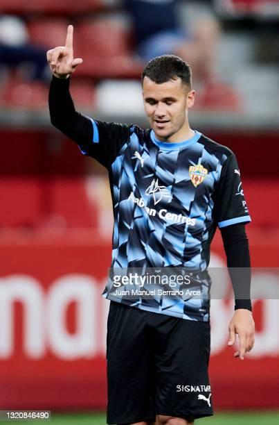 Ager Aketxe of UD Almeria celebrates after scoring goal during the Liga Smartbank match betwen Real Sporting and UD Almeria at Estadio El Molinon on...