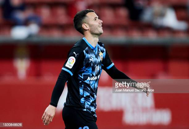 Ager Aketxe of UD Almeria celebrates after scoring his team's second goal during the Liga Smartbank match betwen Real Sporting and UD Almeria at...