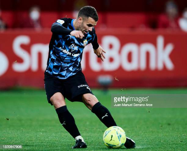 Ager Aketxe of UD Almeria scoring his team's second goal during the Liga Smartbank match betwen Real Sporting and UD Almeria at Estadio El Molinon on...