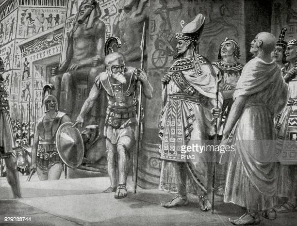 Agesilaus II king of Sparta and the Athenian general Chabrias with mercenaries come into help the king Nectanebo I and his regent Teos against the...