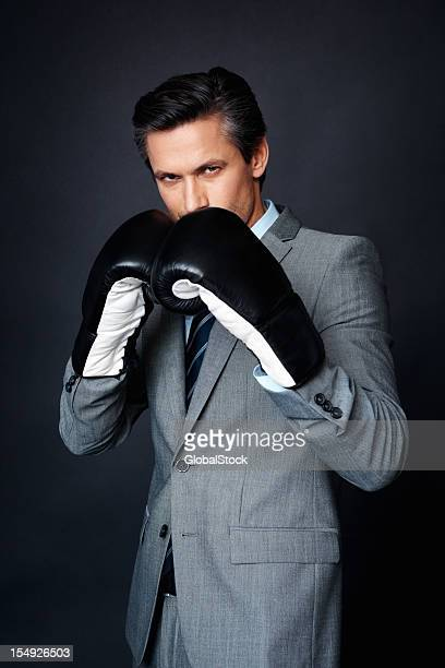 Aggressive business man ready for a fight