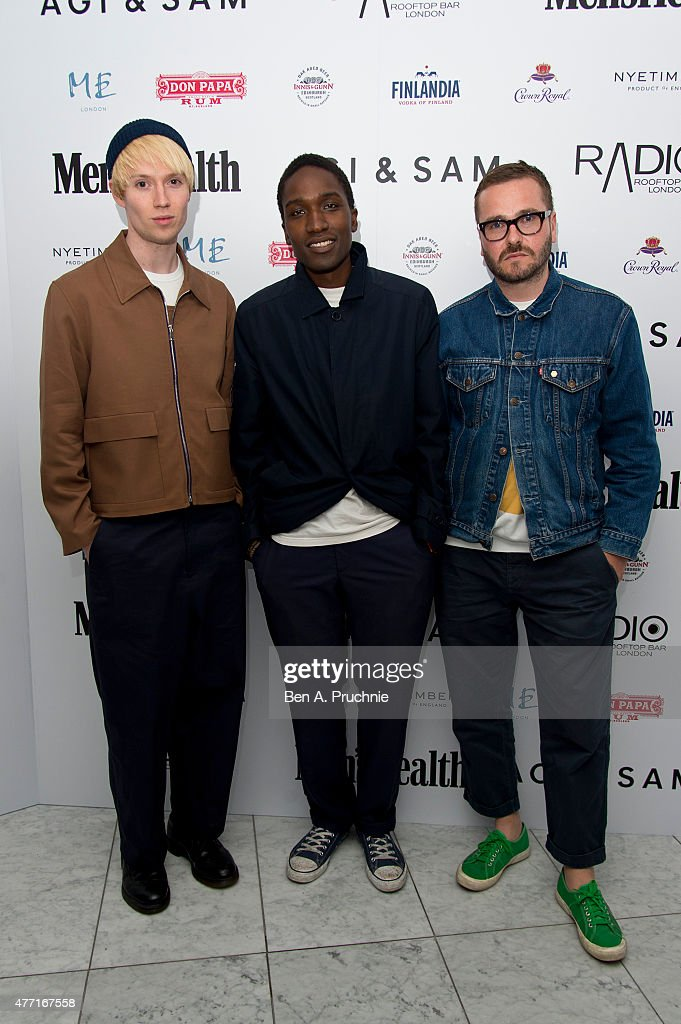 Agi, Sam and Toby Wiseman attend the Men's Health X Agi & Sam LCM Party at Radio Bar at the ME Hotel on June 14, 2015 in London, England.
