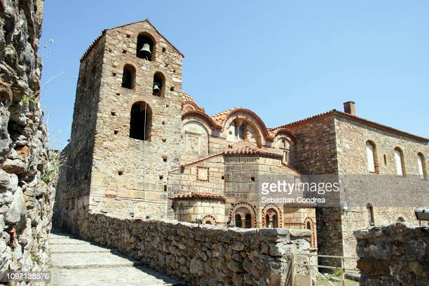 agia sofia monastery, mystras, greece, discovering greece - sparta stock photos and pictures