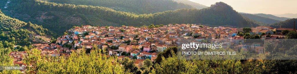 Agiasos traditional settlement panorama : Stock Photo