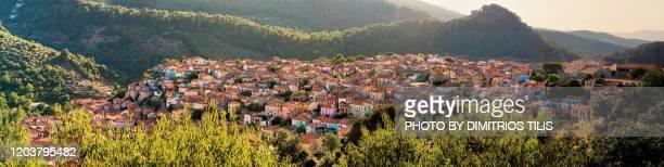 agiasos traditional settlement panorama - dimitrios tilis stock pictures, royalty-free photos & images