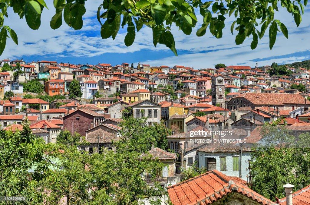 Agiasos traditional settlement : Stock Photo