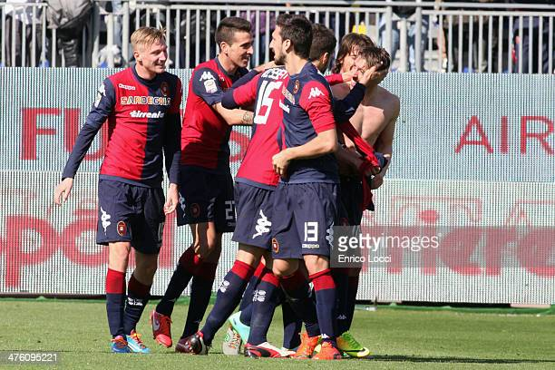 Agim Ibraimi of Cagliari celebrates with teammates after scoring goal 30 during the Serie A match between Cagliari Calcio and Udinese Calcio at...