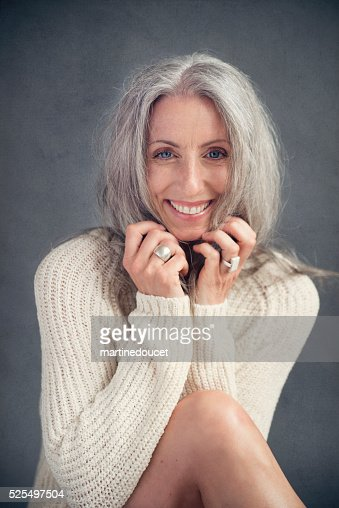 Aging Gracefully Beautiful Mature Woman With Silver Hair Portrait Stock Photo  Getty -7486