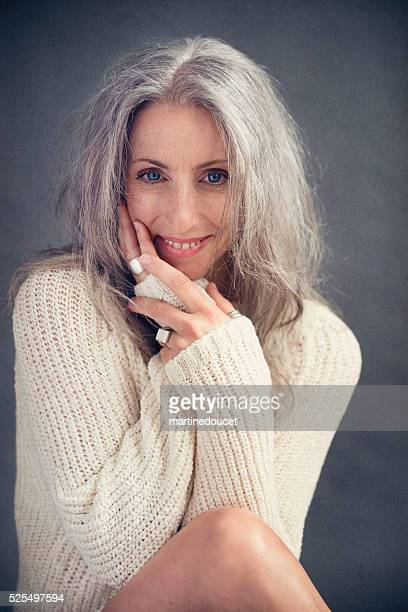 Aging gracefully, beautiful mature woman with silver hair portrait.