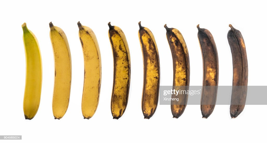 Aging Process Of Banana On White Background : Stock Photo