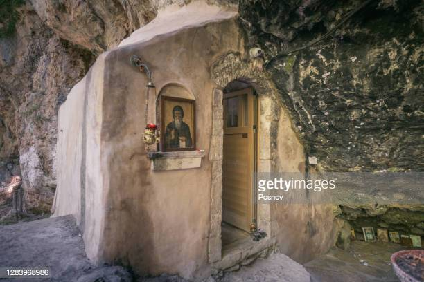 agios antonios cave chapel at gios antonios gorge - chapel stock pictures, royalty-free photos & images