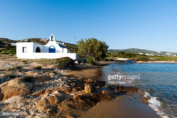 Agios Georgios church on beach at Antiparos, Cyclades Islands, Aegean sea, Greece