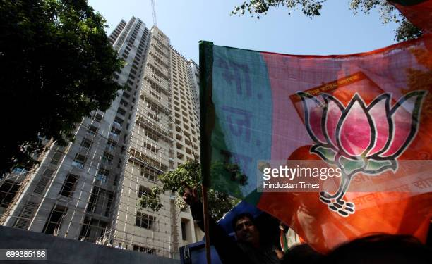BJP agitated against State Govt at Adarsh Nagar Society Colaba in Mumbai on Tuesday