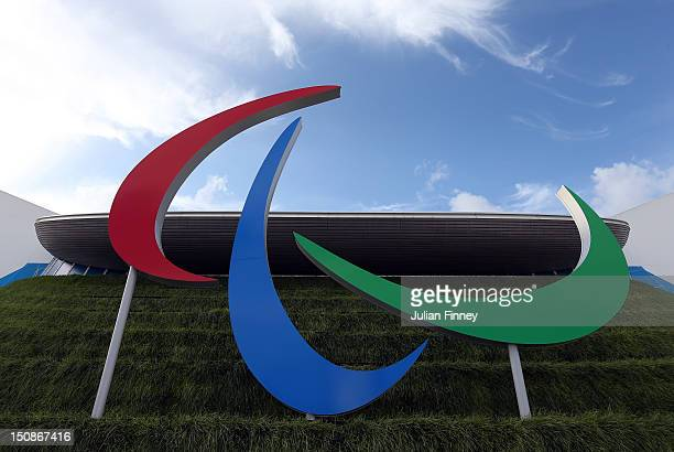Agitos, The Paralympic logo is seen during 2012 London Paralympics previews on August 28, 2012 in London, England.