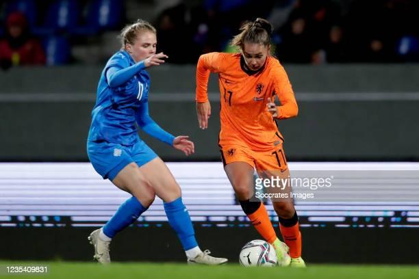 Agla Maria Albertsdottir of Iceland Women, Lieke Martens of Holland Women during the World Cup Qualifier Women match between Iceland v Holland at the...