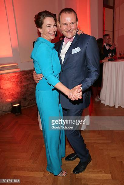 Aglaia Szyszkowitz and Devid Striesow during the 27th ROMY Award 2015 at Hofburg Vienna on April 16 2016 in Vienna Austria