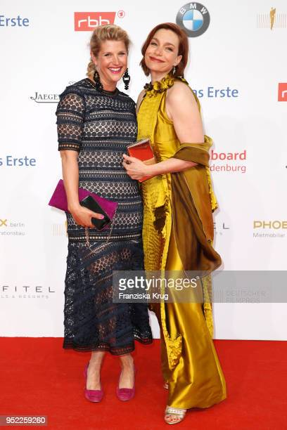 Aglaia Szyszkowitz and her sister Gwendolin Szyszkowitz attend the Lola German Film Award red carpet at Messe Berlin on April 27 2018 in Berlin...