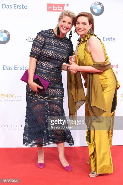Aglaia Szyszkowitz and her sister Quendolin during the Lola German Film Award red carpet at Messe Berlin on April 27 2018 in Berlin Germany