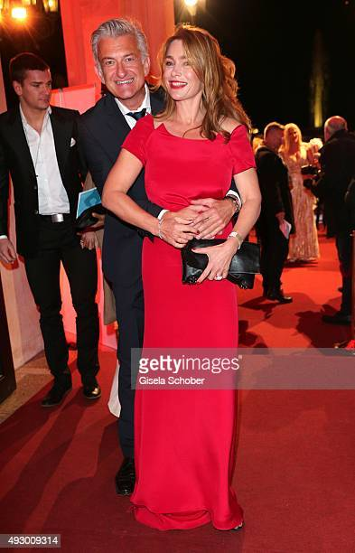 Aglaia Szyszkowitz wearing a dress by Mauritio Giambra during the Hessian Film and Cinema Award 2015 at Alte Oper on October 16 2015 in Frankfurt am...