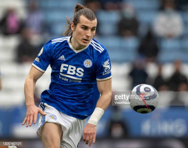 Çaglar Söyüncü of Leicester City in action during the Premier League match between Leicester City and Tottenham Hotspur at The King Power Stadium on...