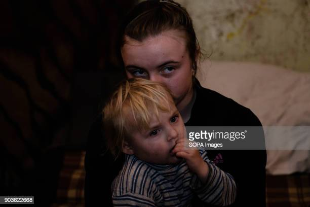 Agna 10 years old and her little brother Voda 4 years old The conflict between the Russian backed rebels and the Ukrainian arm forces in the Donbass...