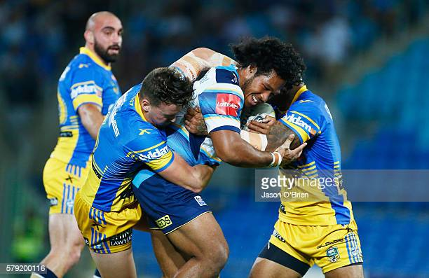 Agnatius Paasi of the Titans in action during the round 20 NRL match between the Gold Coast Titans and the Parramatta Eels at Cbus Super Stadium on...