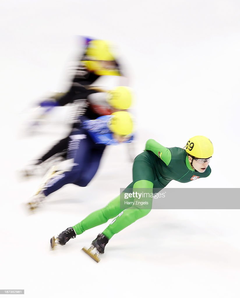 Agne Sereikaite of Lithuania leads the group during the Women's 1000m pre-preliminaries on day two of the Samsung ISU Short Track World Cup at the Palatazzoli on November 8, 2013 in Turin, Italy.