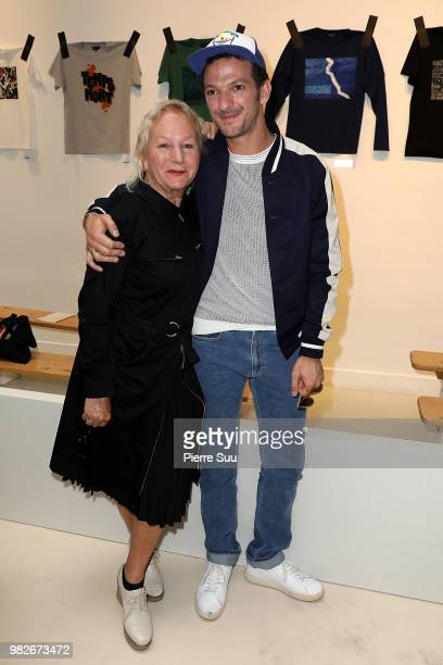 Agnes B and Vincent Dedienne attend the Agnes B Menswear Spring/Summer 2019 show as part of Paris Fashion Week on June 24 2018 in Paris France