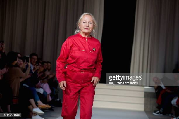 Agnes B walks the runway during the Agnes B show as part of the Paris Fashion Week Womenswear Spring/Summer 2019 on October 1, 2018 in Paris, France.