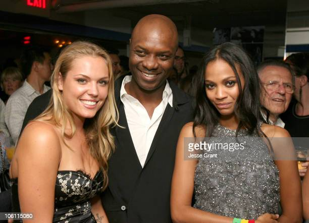 """Agnes Bruckner, Robert Wisdom and Zoe Saldana during """"Haven"""" Los Angeles Premiere - After Party in Los Angeles, California, United States."""