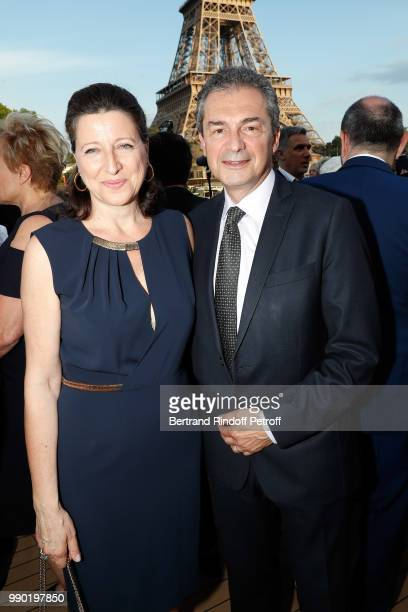 Agnes Buzyn and Yves Levy attend 'Line Renaud's 90th Anniversary' on July 2 2018 in Paris France