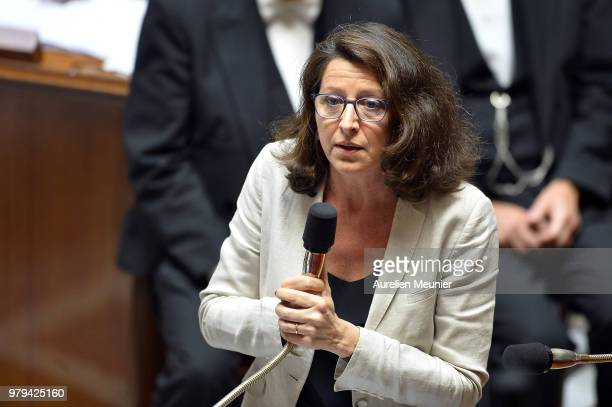 Agnes Buzyn French Minister for Solidarity and Health answers deputies during the weekly session of questions to the government at Assemblee...
