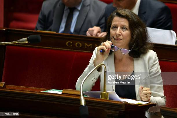 Agnes Buzyn French Minister for Solidarity and Health reacts as ministers answer deputies during the weekly session of questions to the government at...