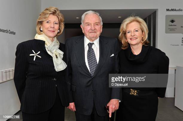 Agnes Gund David Rockefeller and Patricia Cisneros attend the 2011 David Rockefeller Award Luncheon at The Museum of Modern Art on March 8 2011 in...