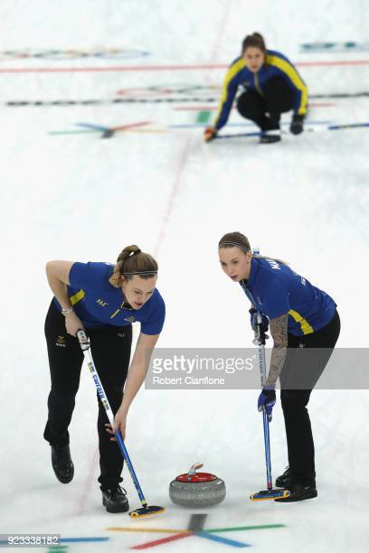 Agnes Knochenhaue and Sofia Mabergs of Sweden compete during the Women's Semi Final match between Great Britain and Sweden on day fourteen of the...