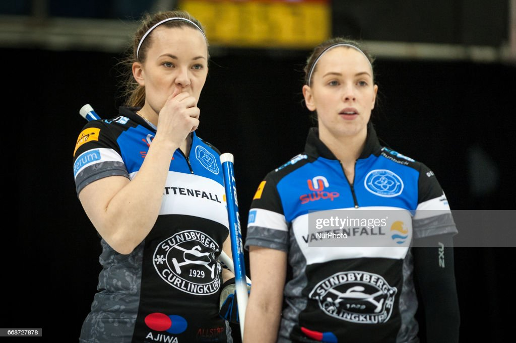 Agnes Knochenhauer (L) and Sofia Mabergs (R) on the ice during 2017 WetJet Players Championship which takes place in Ryerson's Mattamy Athletic Centre, in Toronto, Ontario, Canada on April 13, 2017.