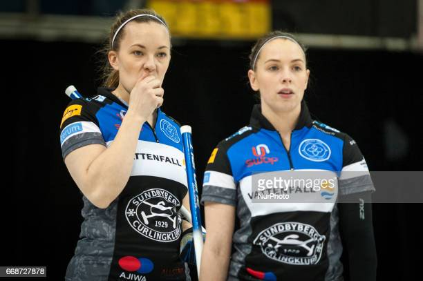 Agnes Knochenhauer and Sofia Mabergs on the ice during 2017 WetJet Players Championship which takes place in Ryerson's Mattamy Athletic Centre in...