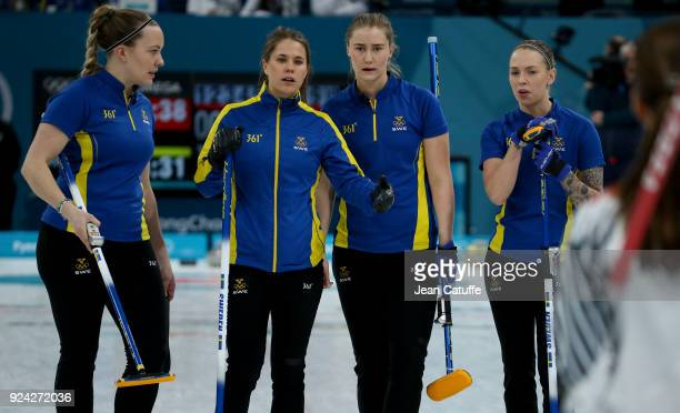 Agnes Knochenhauer Anna Hasselborg Sara McManus Sofia Mabergs of Sweden during the Women's Gold Medal game between Sweden and South Korea at the 2018...