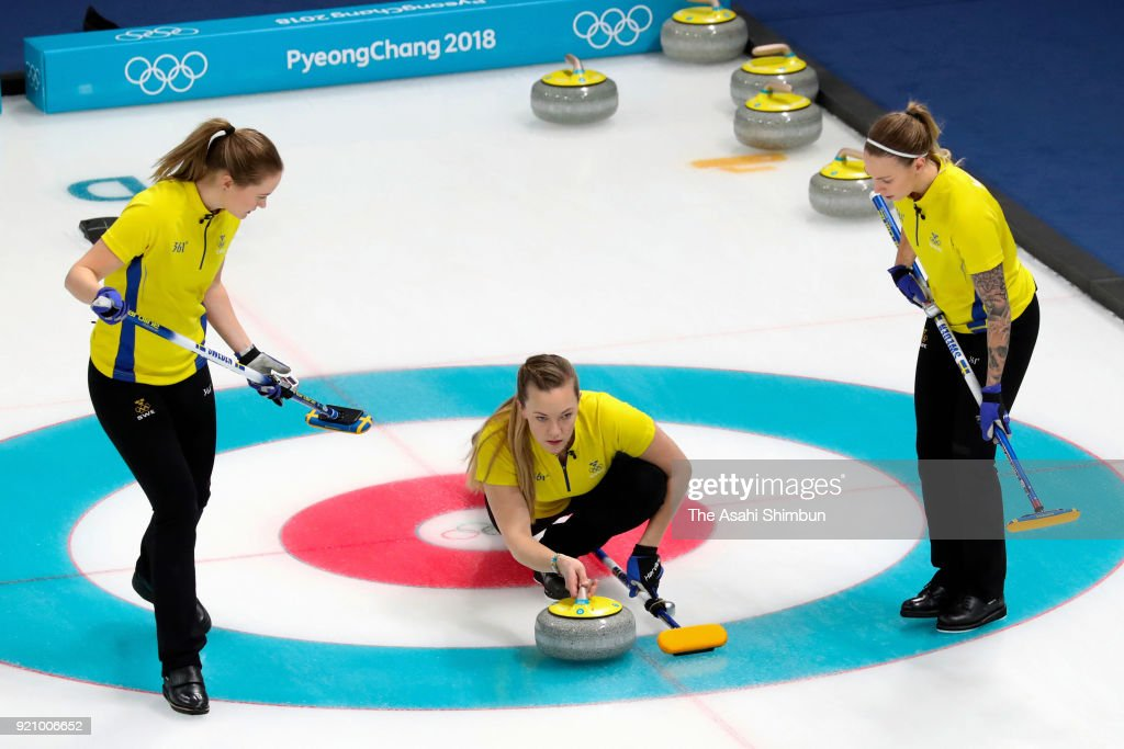 Agnes Knochenhauer (C) of Sweden delivers the stone in the 4th end during Women's Round Robin Session 9 against Sweden on day ten of the PyeongChang Winter Olympic Games at Gangneung Curling Centre on February 19, 2018 in Pyeongchang-gun, South Korea.