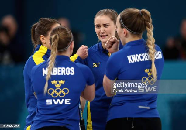 Agnes Knochenhauer of Sweden speaks with her teammates during the Women's Gold Medal Game between Sweden and Korea on day sixteen of the PyeongChang...